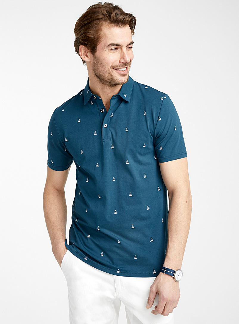 Le 31 Slate Blue Summer pattern polo for men