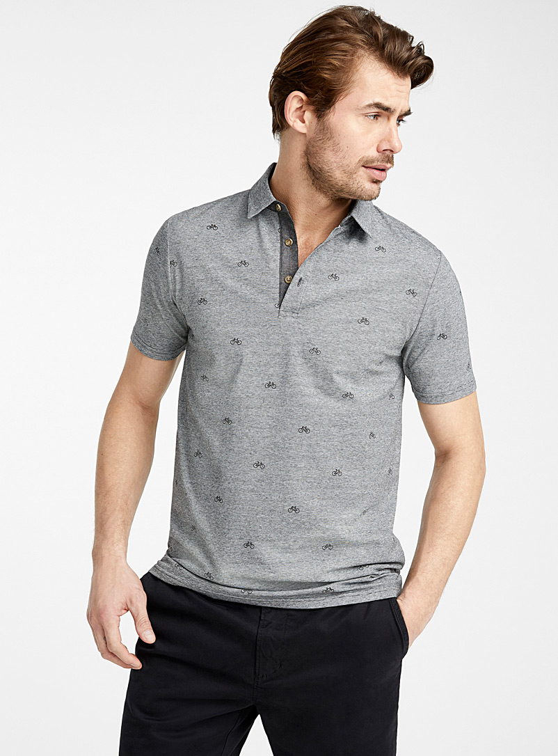 Le 31 Black Mini vacation pattern polo for men