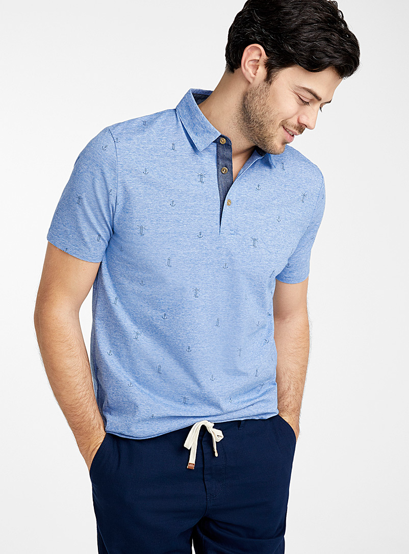 Le 31 Slate Blue Mini vacation pattern polo for men