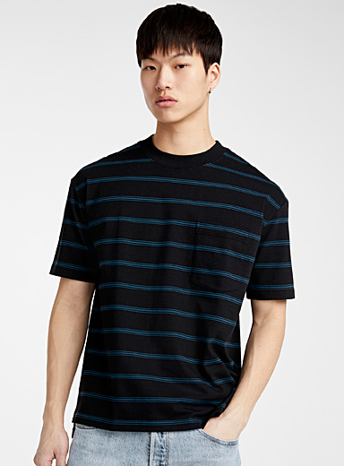 Le 31 Black Loose accent stripe T-shirt for men