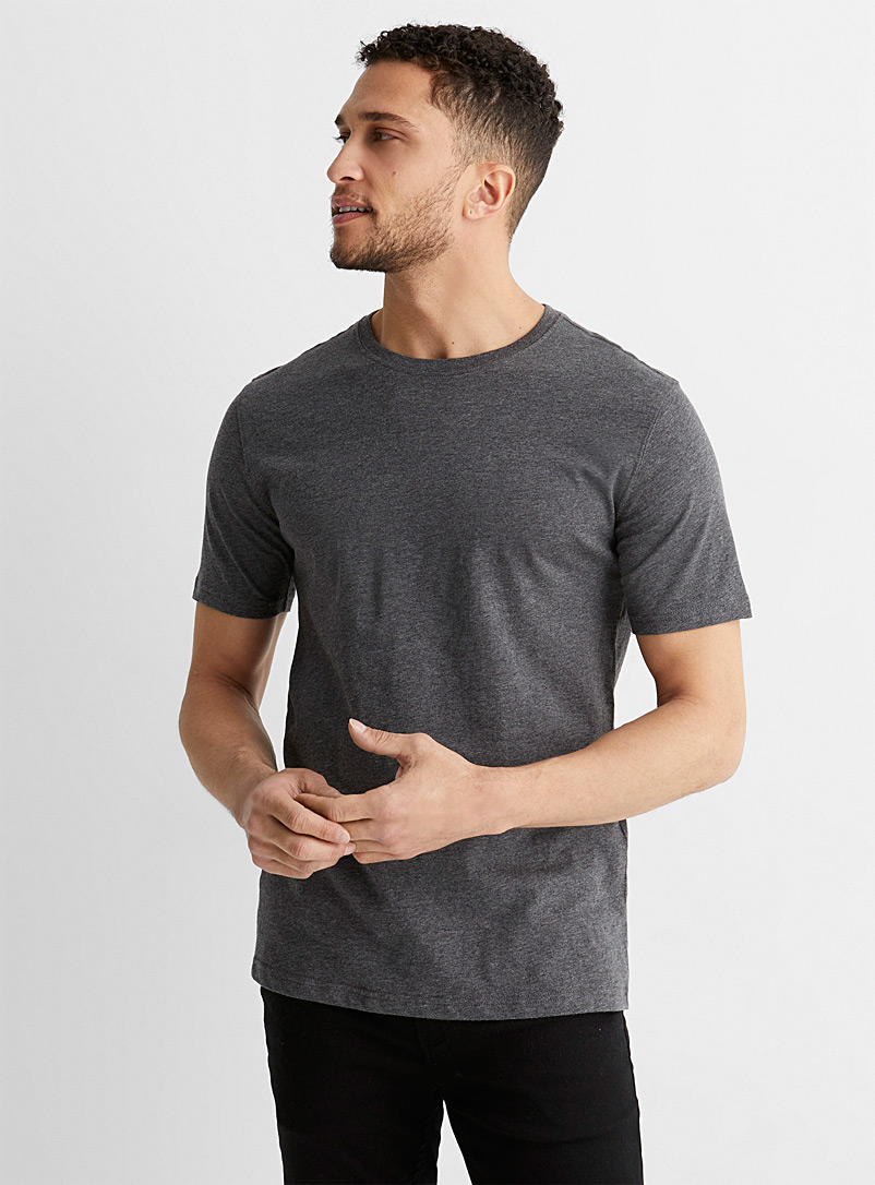 Organic cotton T-shirt - Short sleeves & 3/4 sleeves - Charcoal