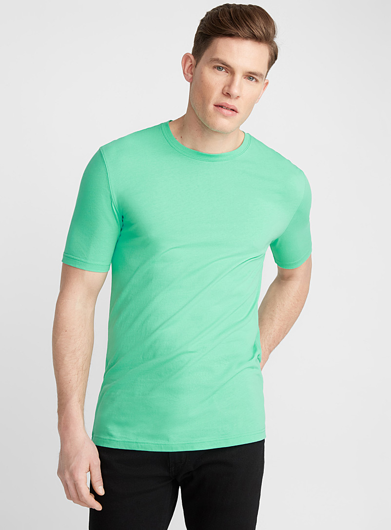 Bright coloured organic cotton T-shirt - Short sleeves & 3/4 sleeves - Lime Green