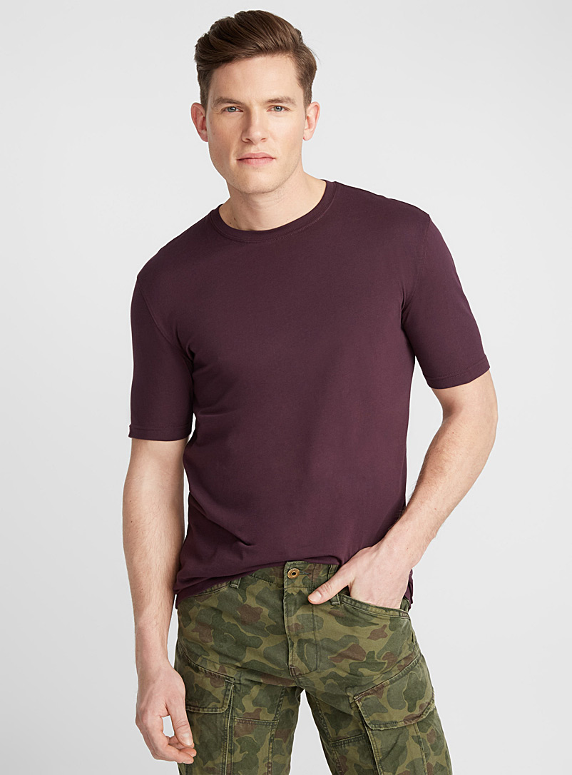 Bright coloured organic cotton T-shirt - Short sleeves & 3/4 sleeves - Mauve