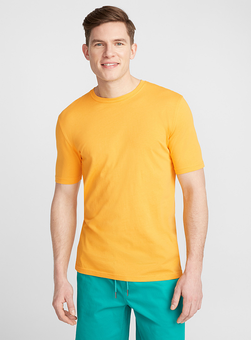 Bright coloured organic cotton T-shirt - Short sleeves & 3/4 sleeves - Medium Yellow