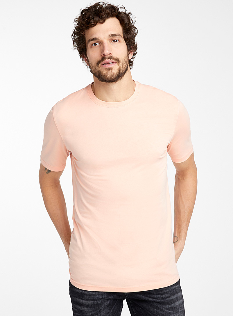 Le 31 Dusky Pink Crew neck organic cotton T-shirt for men