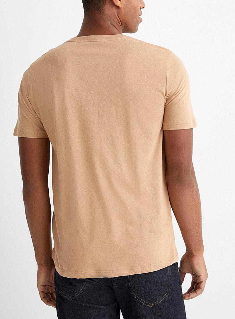 Le 31 Khaki Organic cotton V-neck T-shirt for men