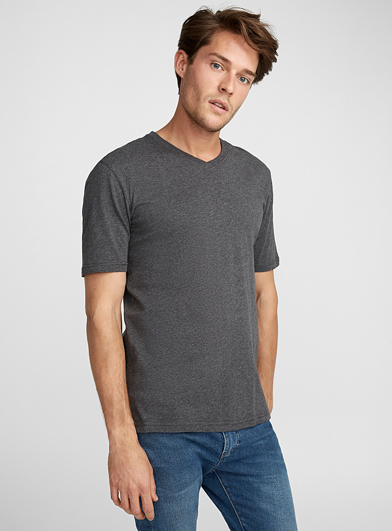 Organic cotton V-neck T-shirt - Short sleeves - Charcoal