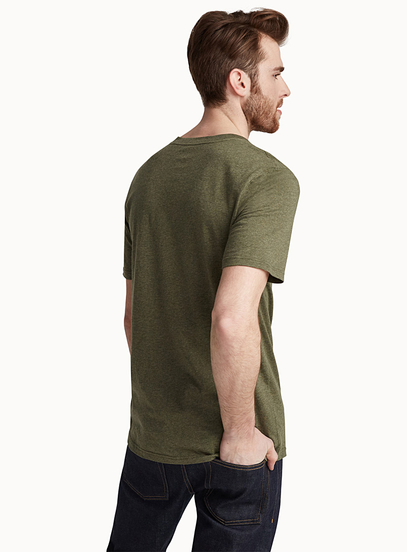 Colourful heather V-neck T-shirt - Short sleeves & 3/4 sleeves - Khaki