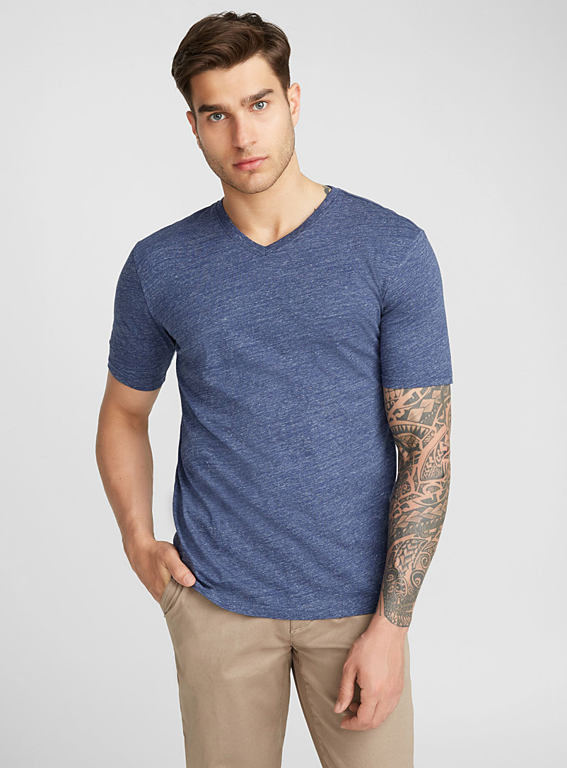 Organic cotton V-neck T-shirt - Short sleeves & 3/4 sleeves - Teal