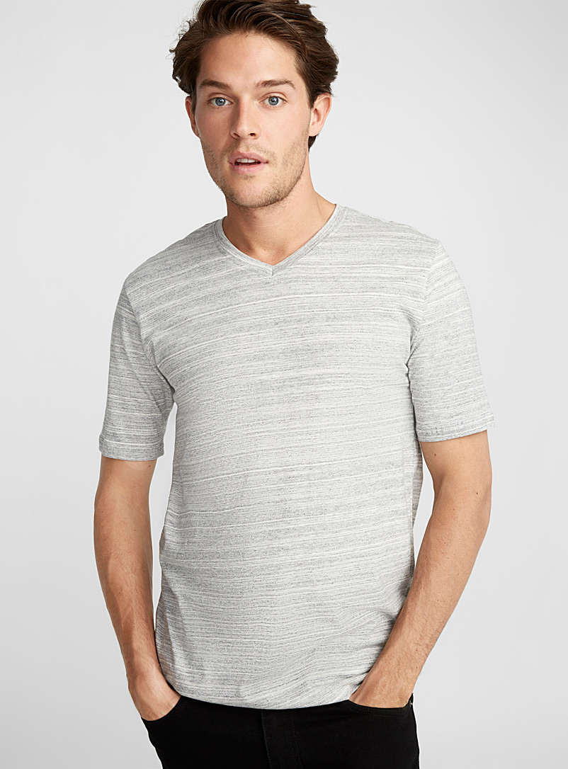Organic cotton V-neck T-shirt - Short sleeves & 3/4 sleeves - Silver