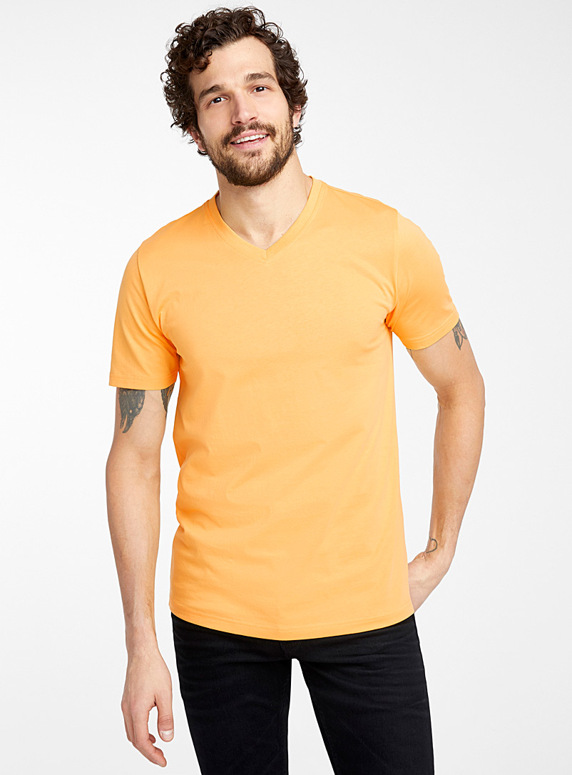 Le 31 Bright Yellow Organic cotton V-neck T-shirt for men