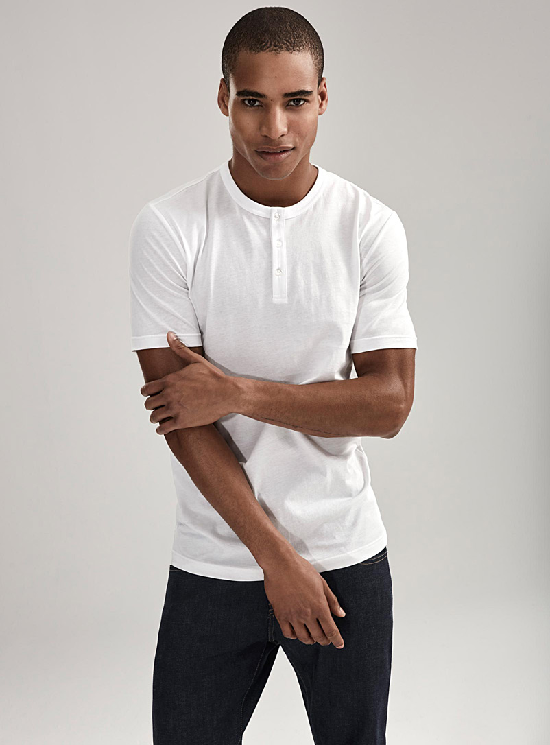 Organic cotton Henley T-shirt - Henleys - White