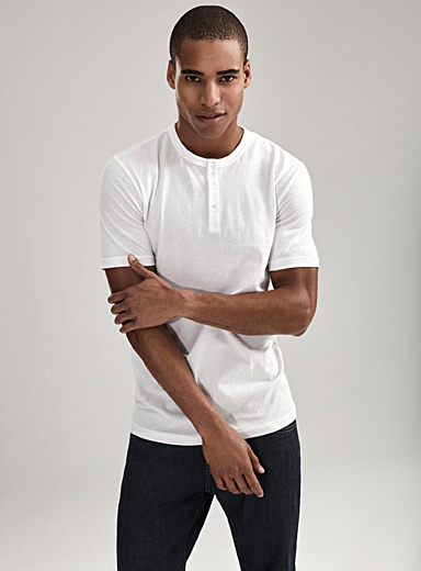 Le 31 White Organic cotton Henley T-shirt for men