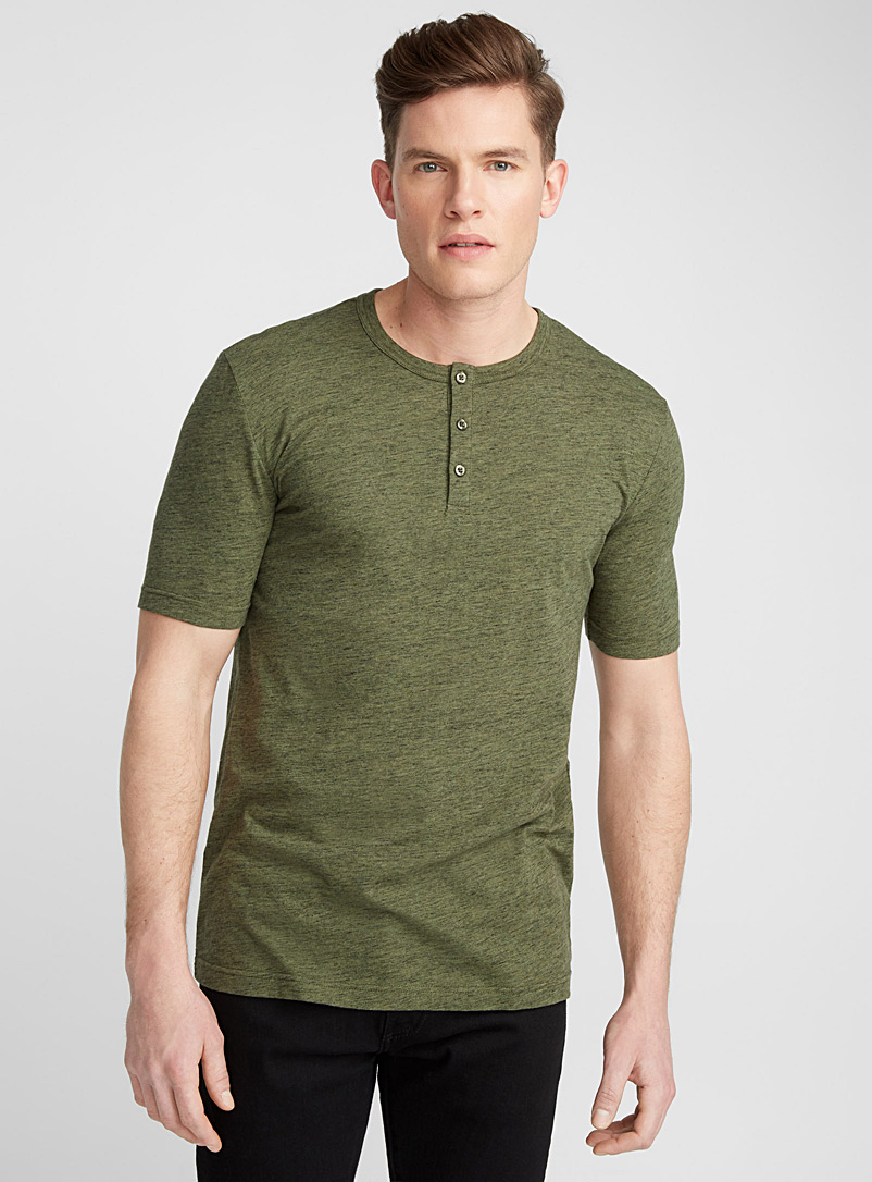 Le 31 Mossy Green Organic cotton Henley T-shirt for men