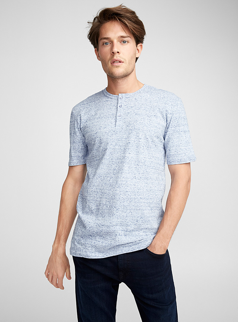 Organic cotton Henley T-shirt - Henleys - Slate Blue