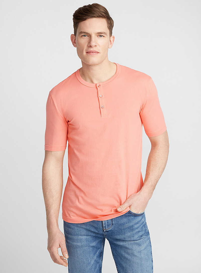 Organic cotton Henley T-shirt - Henleys - Peach