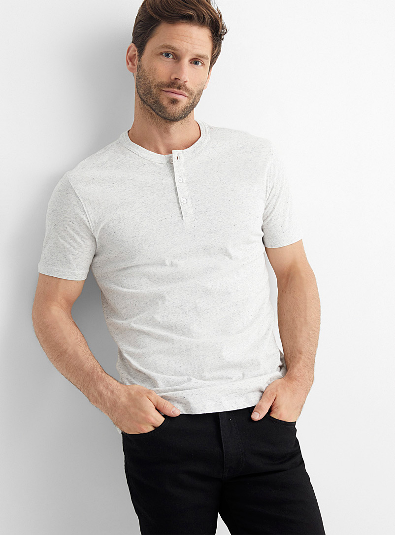 Le 31 Patterned Grey Organic cotton Henley T-shirt for men
