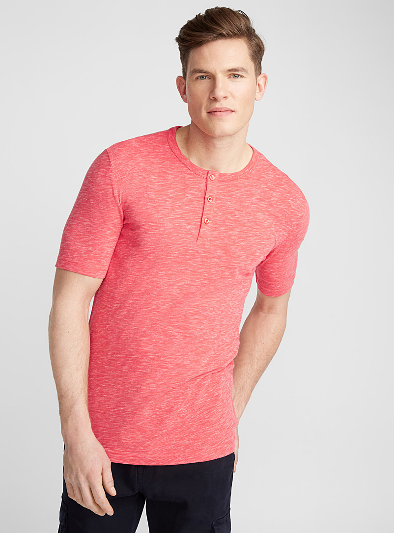 Organic cotton Henley T-shirt - Henleys - Coral