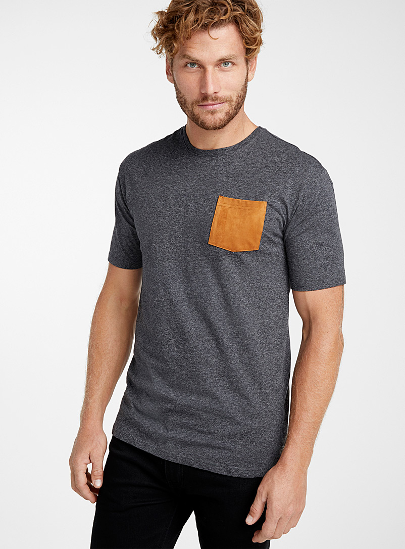 Faux-suede pocket organic cotton t-shirt - Short sleeves & 3/4 sleeves - Black