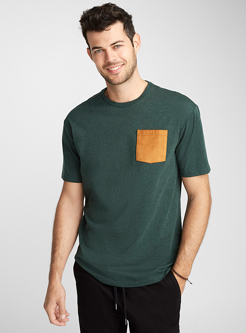 Faux-suede pocket organic cotton t-shirt - Short sleeves & 3/4 sleeves - Bottle Green