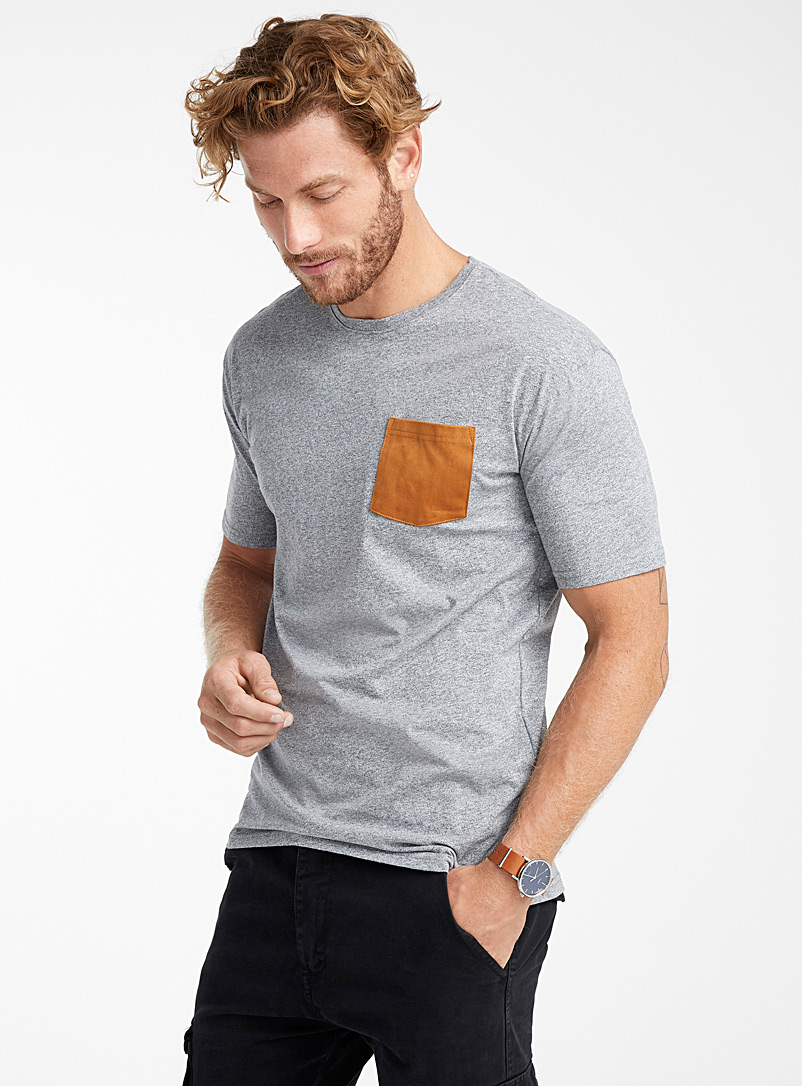 Faux-suede pocket organic cotton t-shirt - Short sleeves & 3/4 sleeves - Grey