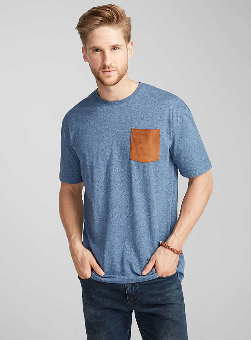 Faux-suede pocket organic cotton t-shirt - Short sleeves & 3/4 sleeves - Blue
