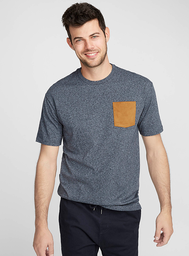 Faux-suede pocket organic cotton t-shirt - Short sleeves & 3/4 sleeves - Marine Blue