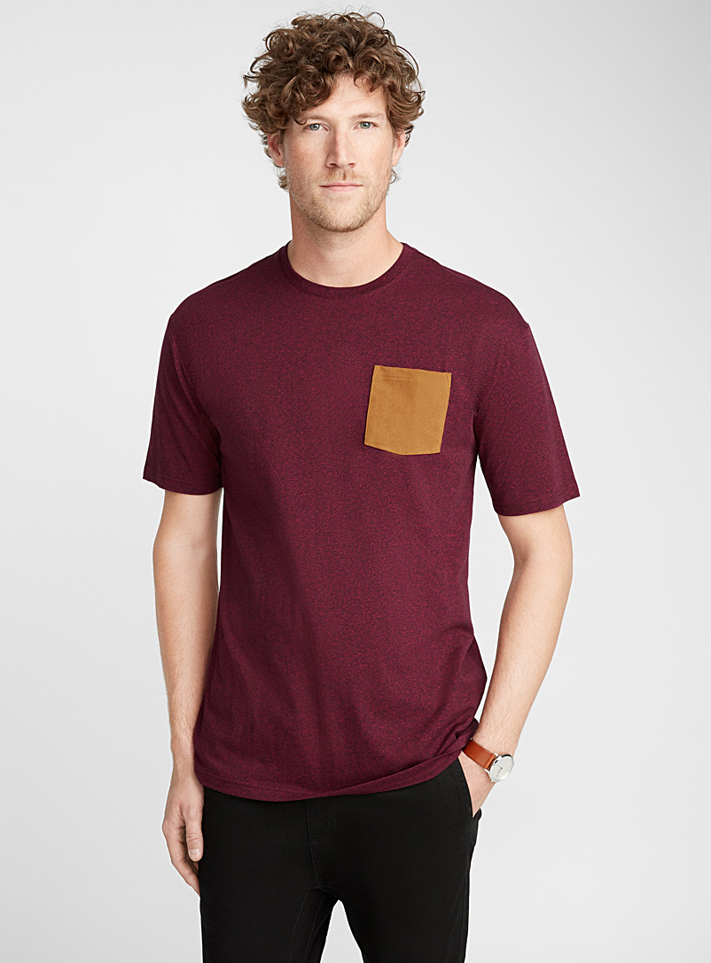 Faux-suede pocket organic cotton t-shirt - Short sleeves & 3/4 sleeves - Ruby Red