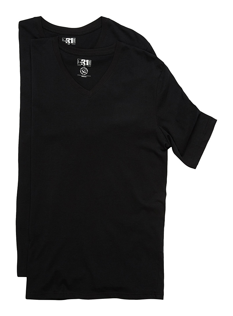 Organic cotton V-neck tee 2-pack - Tanks & T-shirts - Black