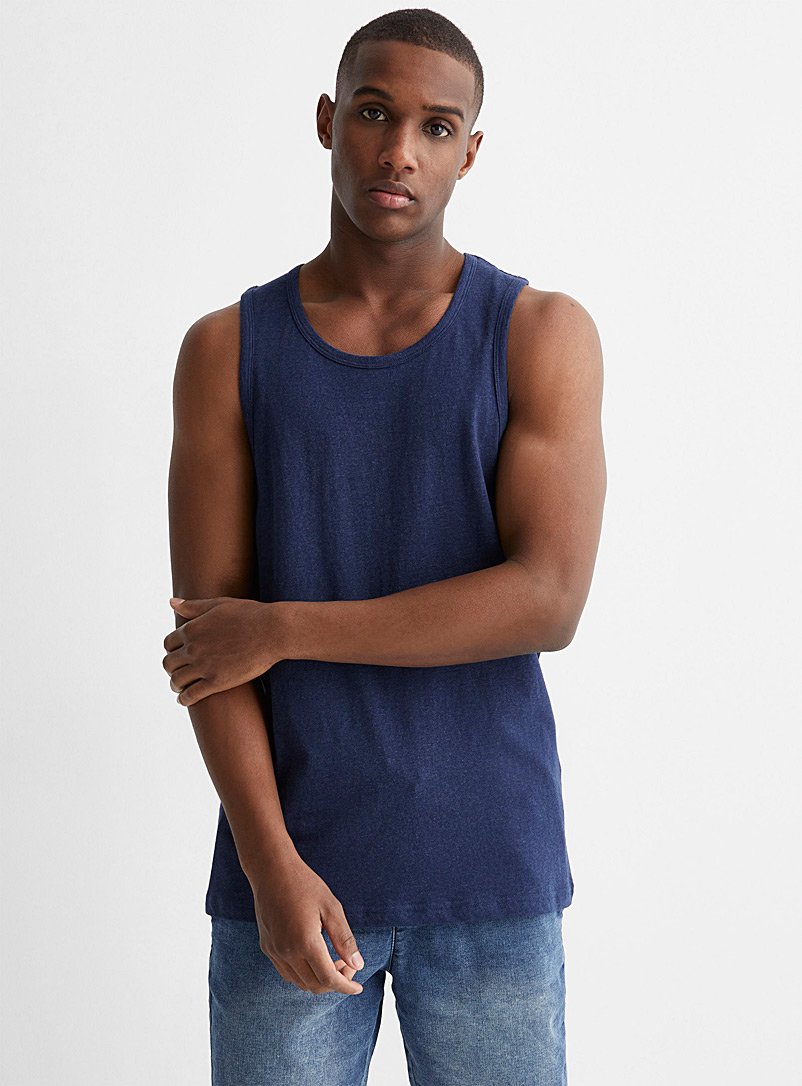 Le 31 Marine Blue Organic cotton tank for men