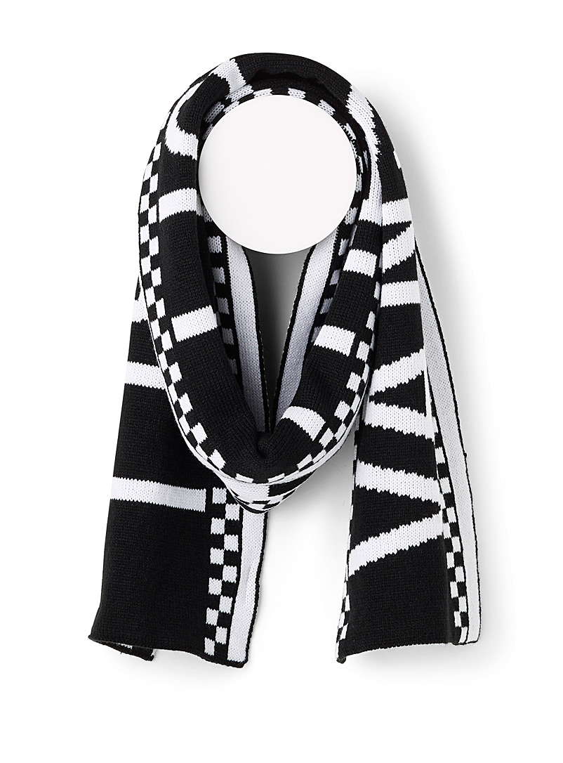 Checkered logo scarf - Winter Scarves - Patterned Black