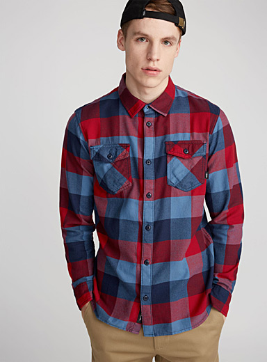 Two-tone flannel check shirt
