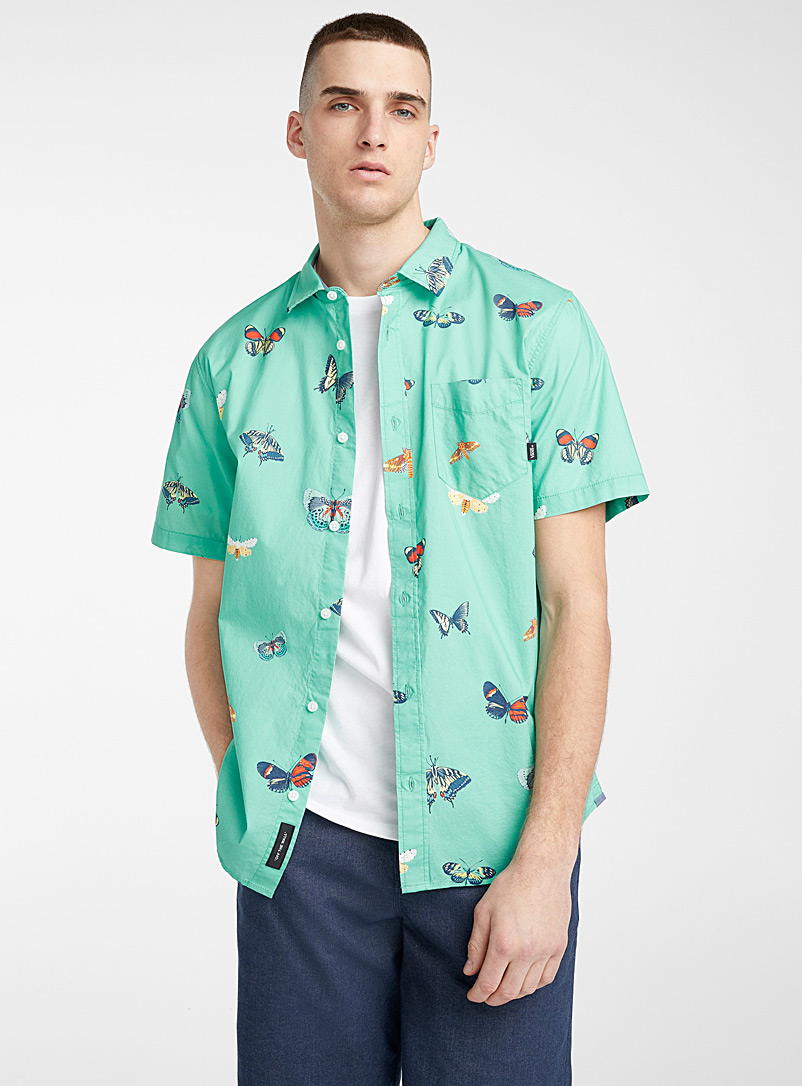 Vans Teal Butterfly mint shirt  Classic fit for men