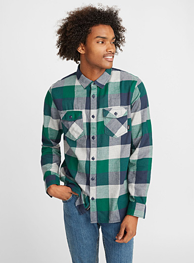 Three-tone check shirt