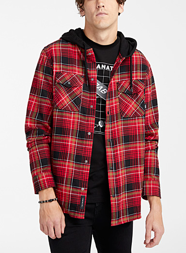 Vans Black Hooded plaid shirt for men