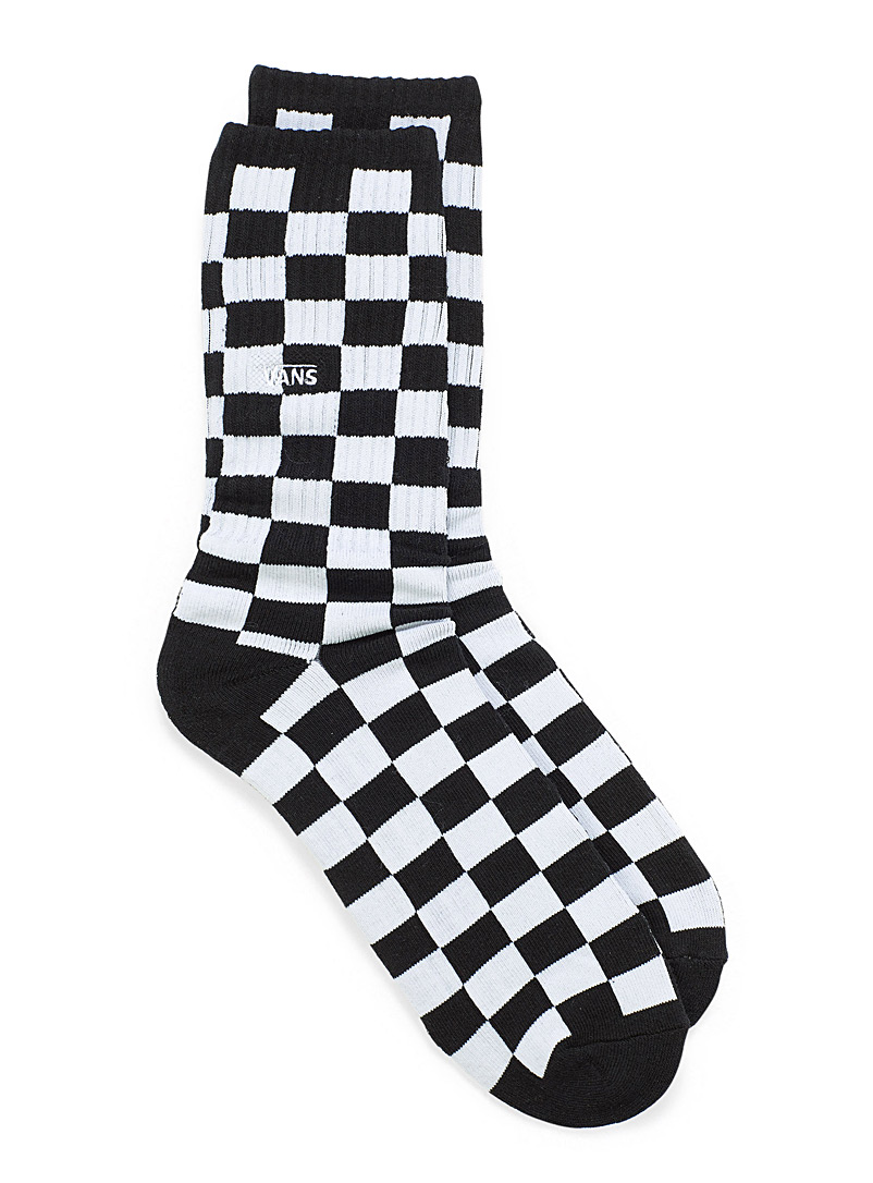 Checkerboard ribbed socks - Athletic socks - Black and White