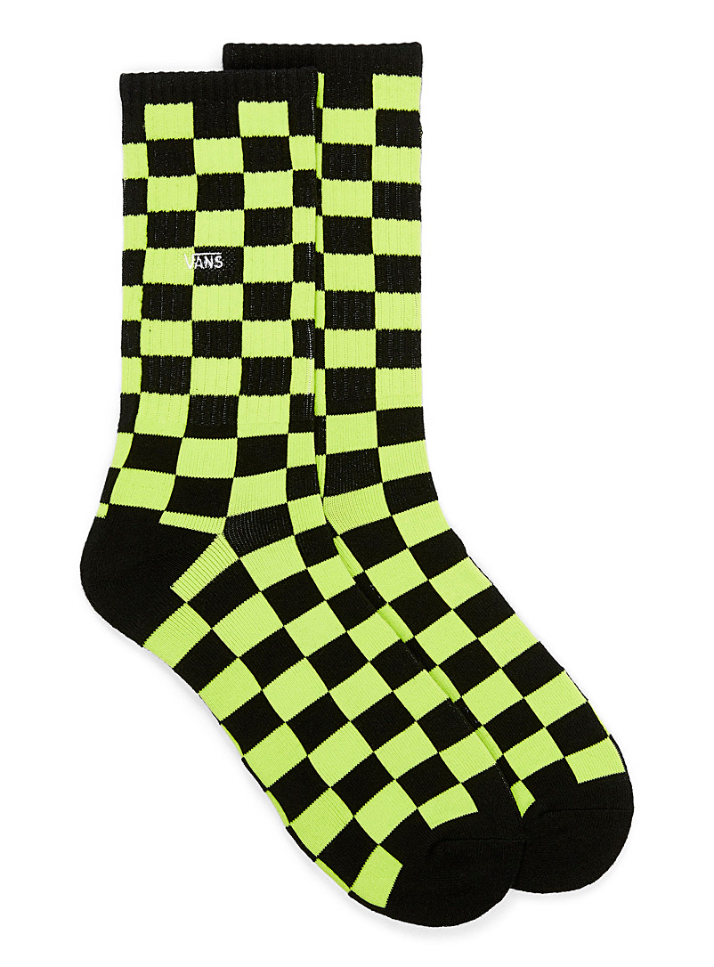 Ribbed checkerboard socks - Athletic socks - Patterned Yellow