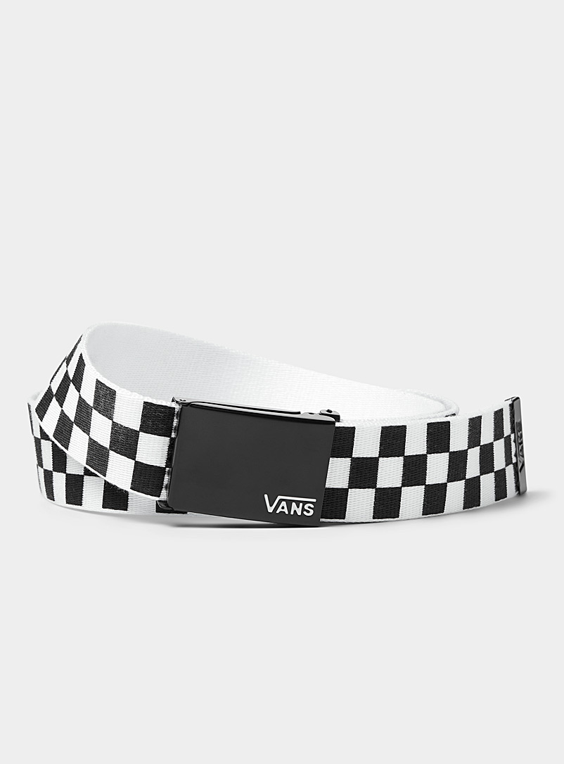 Vans Black and White Depster II web belt for men