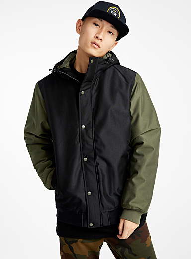 Utility hooded bomber jacket