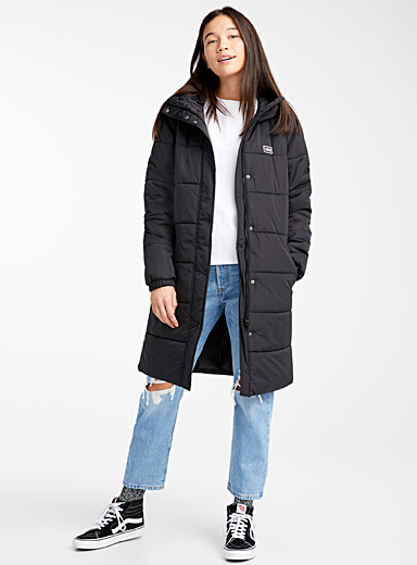 Logo emblem long puffer jacket