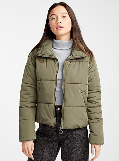 Logo khaki quilted jacket