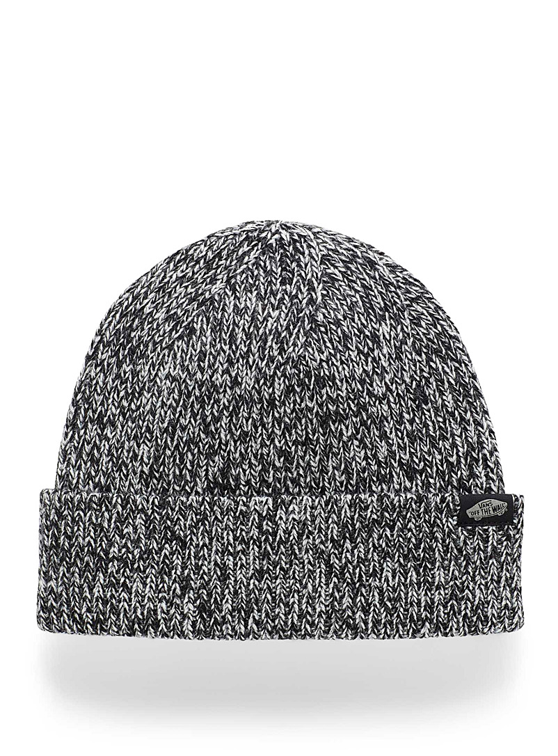 Vans Patterned Black Heathered knit cuffed tuque for women
