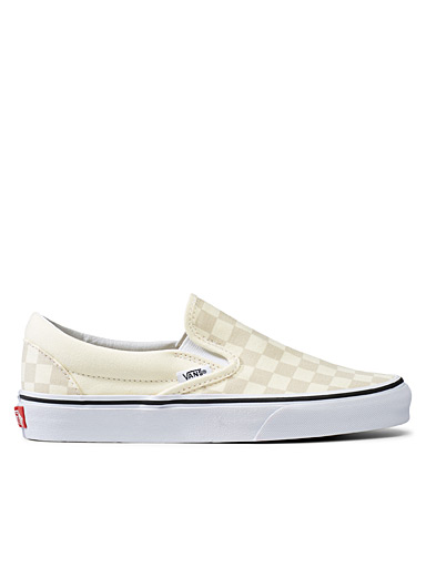 Vans Ivory White Checkerboard Classic beige slip-ons  Women for women