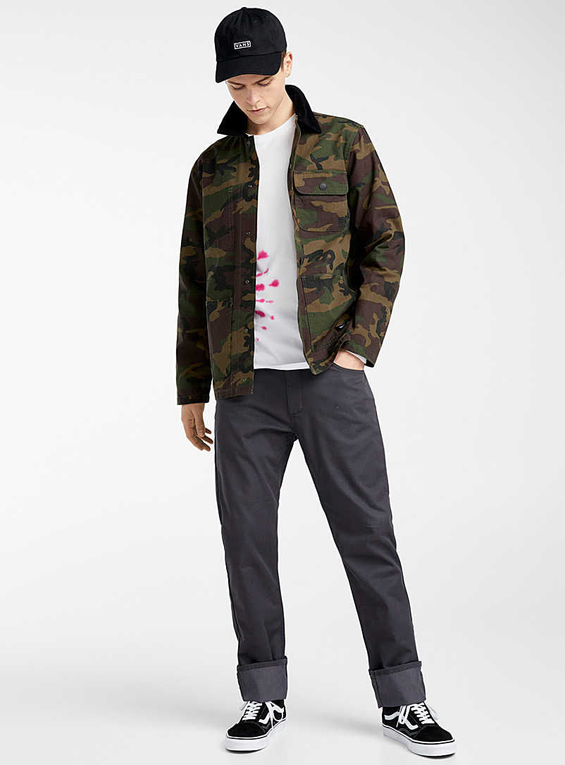 Vans Patterned Green Ribbed-collar camo overshirt for men