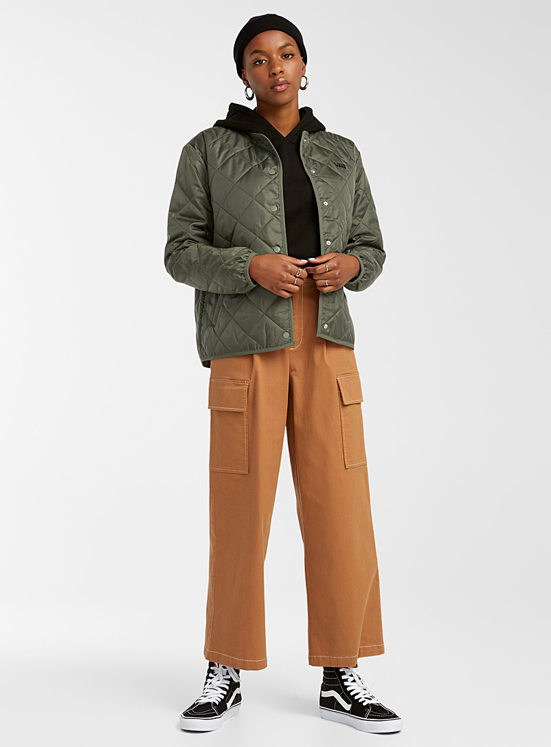 Vans Mossy Green Quilted bomber jacket for women