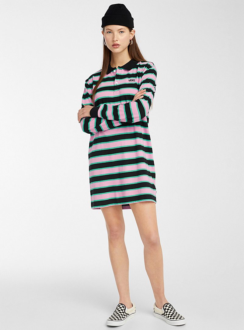 Vans Patterned Crimson Pink stripe polo dress for women