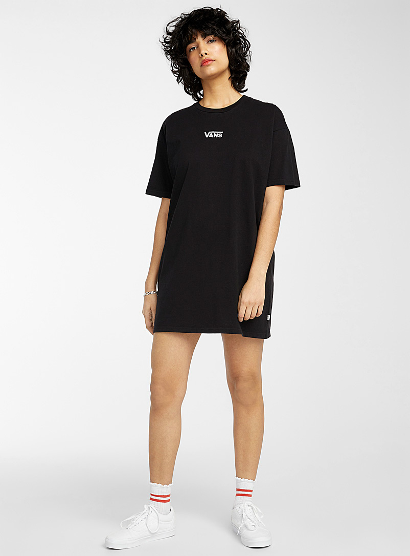 Vans Black Embroidered logo T-shirt dress for women