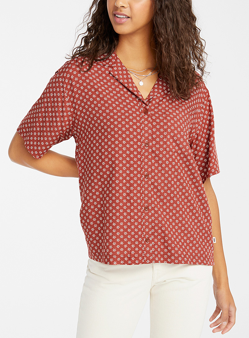 Vans Patterned Red Mini-flower bowling shirt for women