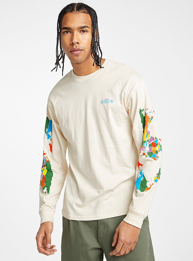 Save the planet T-shirt - Long sleeves - Ecru/Linen