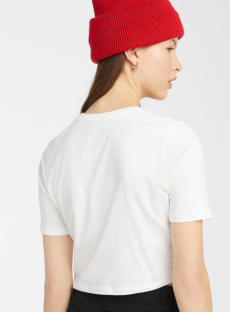 Vans White Embroidered mini-logo ultra cropped tee for women